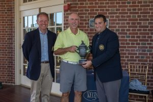 Tom Bagley III MGA President and Jesse Menachem MGA Executive Director congratulate Keith Smith, 2016 Mass Senior Amateur Champion