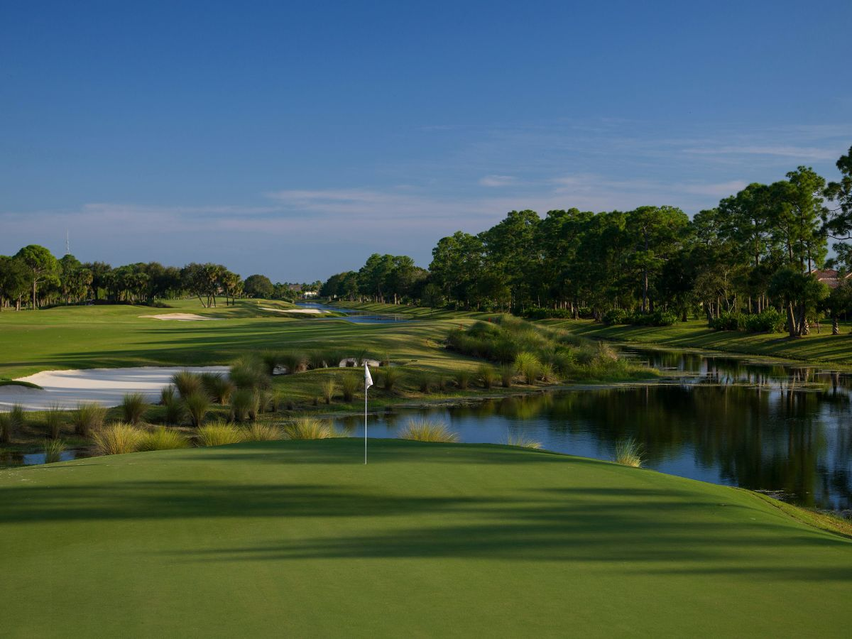 The iconic Clocktower of the PGA Golf Club clubhouse can be seen from the 18th tee of the Ryder Course.