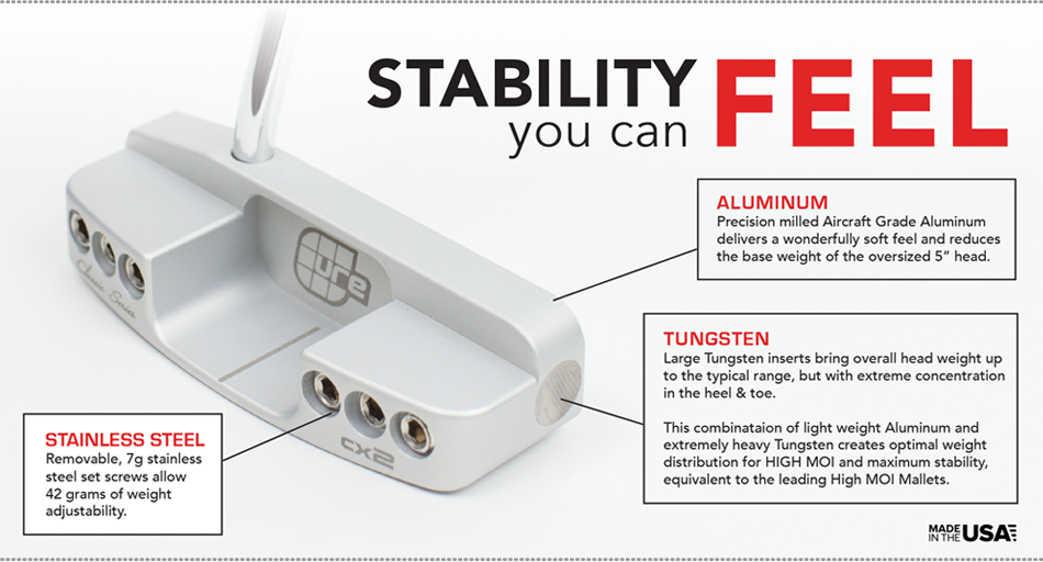 play stability you can feel: Cure Putters