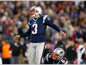New England Patriots kicker Stephen Gostkowski (3) is seen in action during an NFL football game against the Cincinnati Bengals at Gillette Stadium on Sunday, October 5, 2014 in Foxborough, Massachusetts. New England won 43-17. (AP Photo/Aaron M. Sprecher)