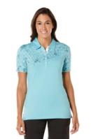 Women's Golf Performance Floral Print Top Polo