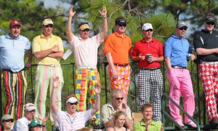 Golf fans dressed